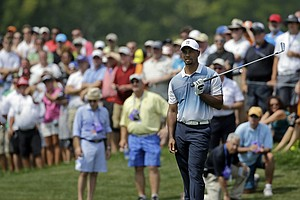 Tiger Woods during his Wednesday practice round prior to the start of the PGA Championship.
