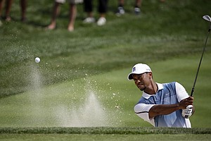 Tiger Woods during Wednesday's practice round at Valhalla for the PGA Championship.