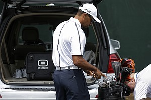 Tiger Woods arrives for the 96th PGA Championship at Valhalla on Wednesday.