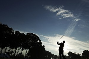 Hideki Matsuyama watches his tee shot on the 10th hole during the first round of the 2014 PGA Championship.