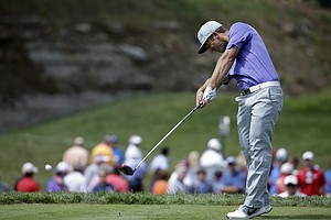 Kevin Chappell hits his tee shot on the 15th hole during the first round of the PGA Championship at Valhalla.