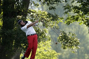 Michael Block watches his tee shot on the 11th hole during the first round of the PGA Championship at Valhalla.