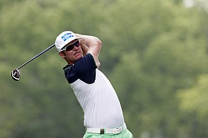 Mikko Ilonen watches his tee shot on the 12th hole during the first round of the PGA Championship at Valhalla.