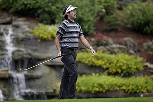 Bubba Watson reacts after missing a birdie on the 13th hole during the second round of the PGA Championship.