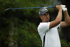 Henrik Stenson watches his tee shot on the 10th hole during the second round of the 2014 PGA Championship.