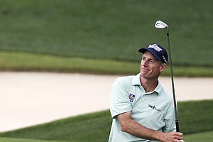 Jim Furyk watches his shot on the ninth hole during the second round of the PGA Championship at Valhalla.