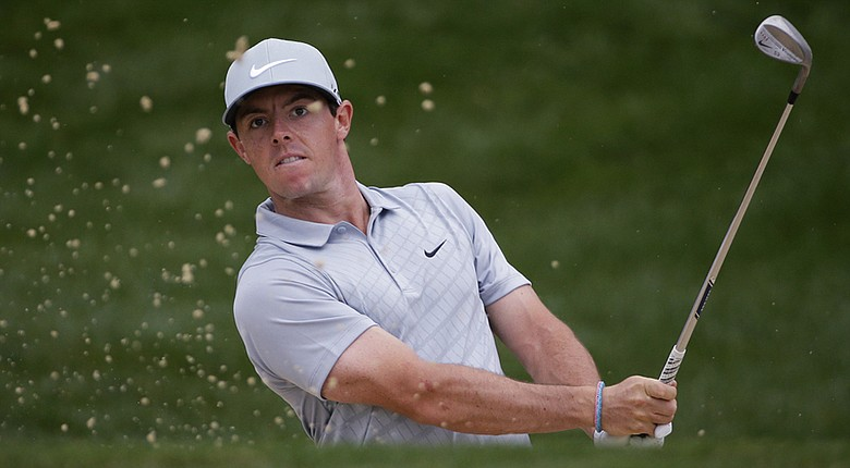 Rory McIlroy hits out of a bunker on the 12th hole during his second round at the PGA Championship.