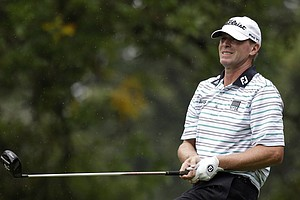 Steve Stricker watches his tee shot on the second hole during the second round of the PGA Championship.