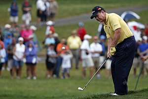 Tom Watson hits a chip on the 14th hole during the second round of the PGA Championship at Valhalla.