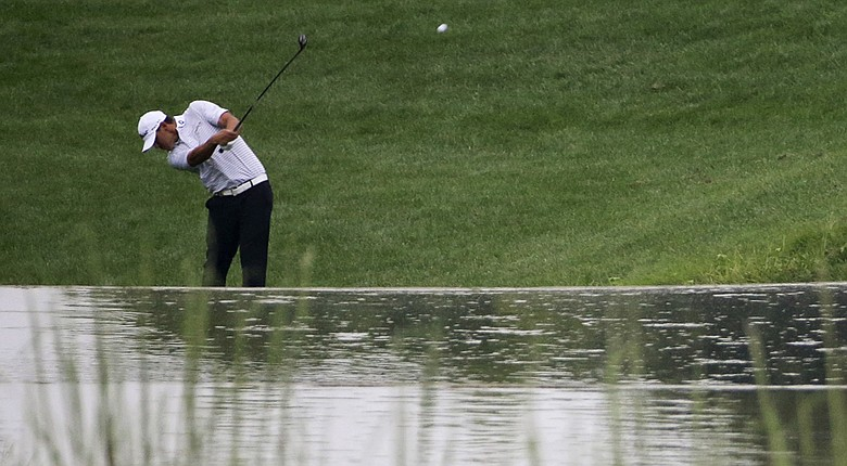 Brooks Koepka hits a shot during the second round of the 2014 PGA Championship at Valhalla Golf Club.