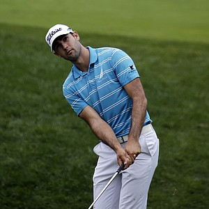 Cameron Tringale hits a chip on the fourth hole during the third round of the PGA Championship at Valhalla.