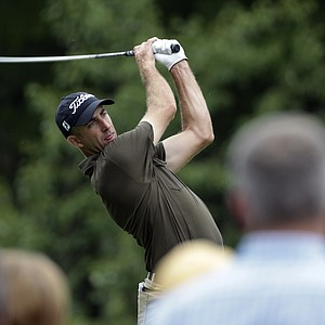 Geoff Ogilvy watches his tee shot on the fourth hole during the third round of the 2014 PGA Championship.
