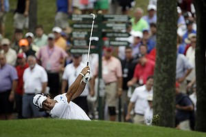 Hideki Matsuyama hits from rough on the 17th hole during the third round of the PGA Championship at Valhalla.