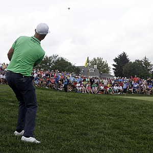 Mikko Ilonen hits a chip on the 12th hole during the third round of the PGA Championship at Valhalla.