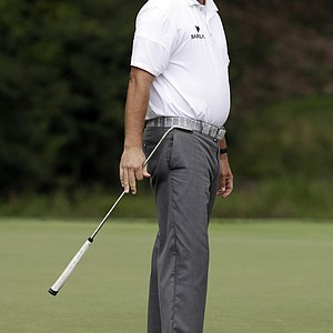 Phil Mickelson watches his putt on the second hole during the third round of the PGA Championship at Valhalla.