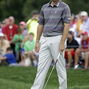 Ryan Palmer reacts to his missed putt on the 12th hole during the third round of the PGA Championship.