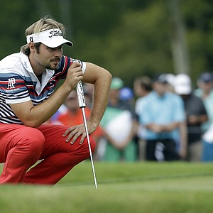 Victor Dubuisson lines up his putt on the first hole during the third round of the PGA Championship at Valhalla.