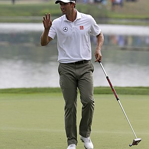 Adam Scott reacts after making a birdie on the seventh hole during the final round of the PGA Championship.