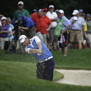 Bernd Wiesberger hits out of the bunker on the second hole during the final round of the PGA Championship.