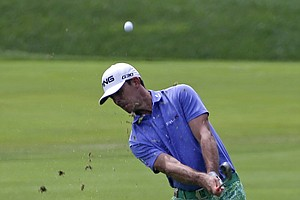 Billy Horschel hits from the fairway on the fourth hole during the final round of the PGA Championship.