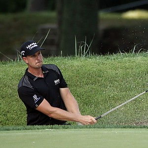 Henrik Stenson hits out of the bunker on the eighth hole during the final round of the PGA Championship.