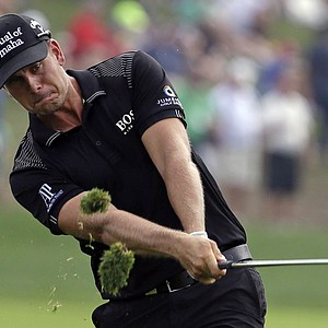 Henrik Stenson hits from rough on the first hole during the final round of the PGA Championship at Valhalla.
