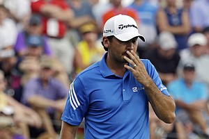 Jason Day reacts to his missed birdie putt on the fourth hole during the final round of the PGA Championship.
