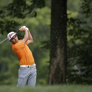 Rickie Fowler watches his tee shot on the 11th hole during the final round of the PGA Championship.