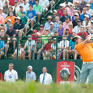 Rickie Fowler tees off on the first hole during the final round of the PGA Championship at Valhalla.