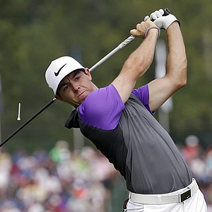 Rory McIlroy watches his tee shot on the fifth hole during the final round of the PGA Championship at Valhalla.