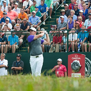 Rory McIlroy tees off on the first hole at Valhalla Golf Club for the final round of the PGA Championship.