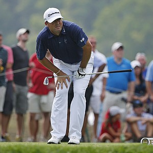Ryan Palmer watches his tee shot on the eighth hole during the final round of the PGA Championship at Valhalla.