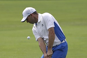 Sergio Garcia hits from the fairway on the fourth hole during the final round of the PGA Championship.