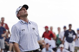 Steve Stricker reacts after missing a birdie on the fourth hole during the final round of the PGA Championship.