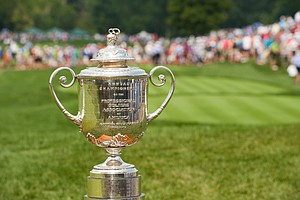 The Wanamaker Trophy makes an appearance on the first tee during the final round of the PGA Championship.