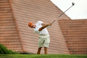 Taylor Funk, son of Fred Funk, hits a tee shot during the 2014 U.S. Amateur at the Atlanta Athletic Club.