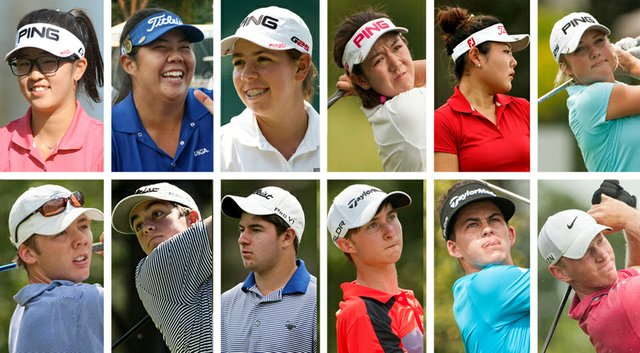 The 2014 selections to the U.S. Junior Ryder Cup team (clockwise from top left): Andrea Lee, Bethany Wu, Kristen Gillman, Hannah O'Sullivan, Amy Lee, Sierra Brooks, Brad Dalke, Gordon Neale, Austin Connelly, Cameron Young, Davis Riley and Sam Burns.