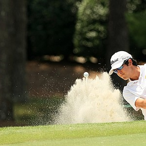 Jimmy Beck blasts out of the bunker at No. 9 during the 2014 U.S. Amateur at the Atlanta Athletic Club.-