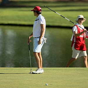 Jimmy Beck looks away at No. 18 after his putt misses and he loses the match during the round of 64 at the 2014 U.S. Amateur at the Atlanta Athletic Club.