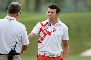 Eli Cole defeated Jonathan Garrick 1 up during the round of 32 at the 2014 U.S. Amateur at the Atlanta Athletic Club.