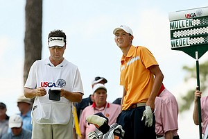 Frederick Wedel with his caddie Brent Babbitt during the round of 16 at the 2014 U.S. Amateur at the Atlanta Athletic Club.