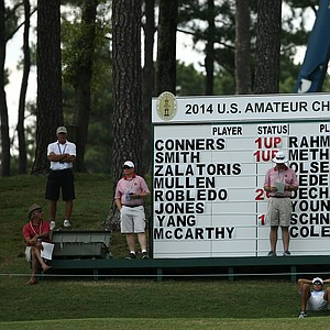 A leaderboard for spectators during the round of 16 at the 2014 U.S. Amateur at the Atlanta Athletic Club.