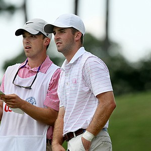 Denny McCarthy, right, with his brother/caddie, Ryan, during the quarterfinals at the 2014 U.S. Amateur at the Atlanta Athletic Club.