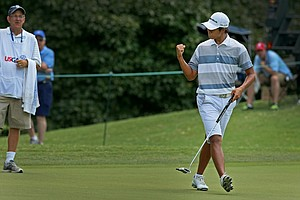 Gunn Yang defeated Cameron Young, 2 up, during the quarterfinals at the 2014 U.S. Amateur at the Atlanta Athletic Club.