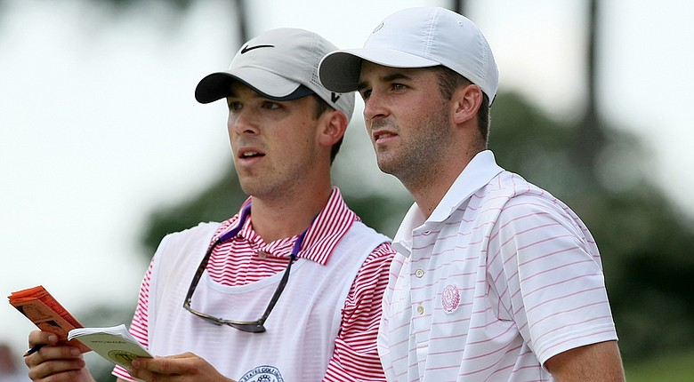 Denny McCarthy, right, and his brother/caddie Ryan, during the quarterfinals of the U.S. Amateur at Atlanta Athletic Club.