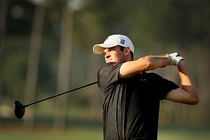 Corey Conners hits his tee shot at No. 1 during the semifinals at the 2014 U.S. Amateur at the Atlanta Athletic Club.