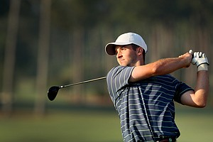 Denny McCarthy hits his tee shot at No. 1 during the semifinals at the 2014 U.S. Amateur at the Atlanta Athletic Club.