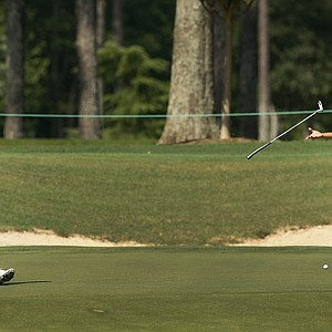 Frederick Wedel misses his putt at No. 17 during the semifinals at the 2014 U.S. Amateur at the Atlanta Athletic Club.