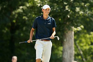 Frederick Wedel reacts to missing a putt during the semifinals at the 2014 U.S. Amateur at the Atlanta Athletic Club.