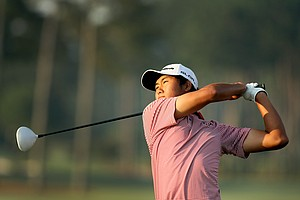 Gunn Yang hits his first tee shot during the semifinals at the 2014 U.S. Amateur at the Atlanta Athletic Club.